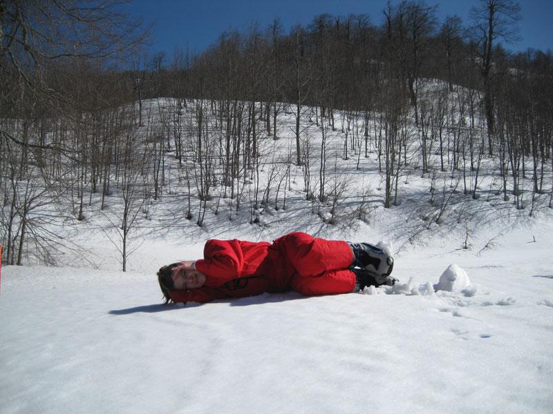 kayak pistinde dinlenme