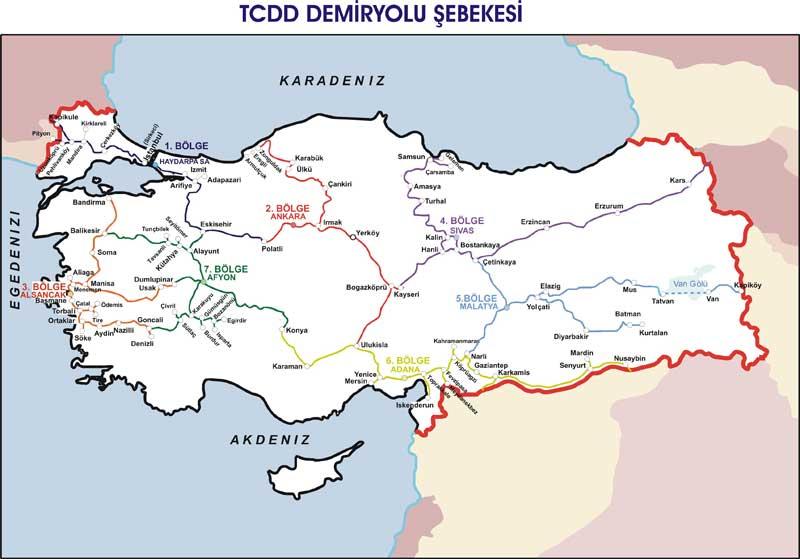 TCDD Tren Yolu Şebeke Haritası