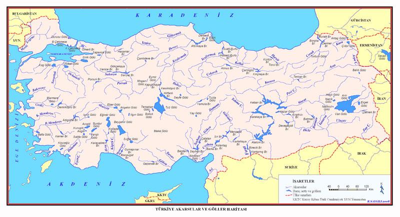 Türkiye Akarsu ve Göller Haritası
