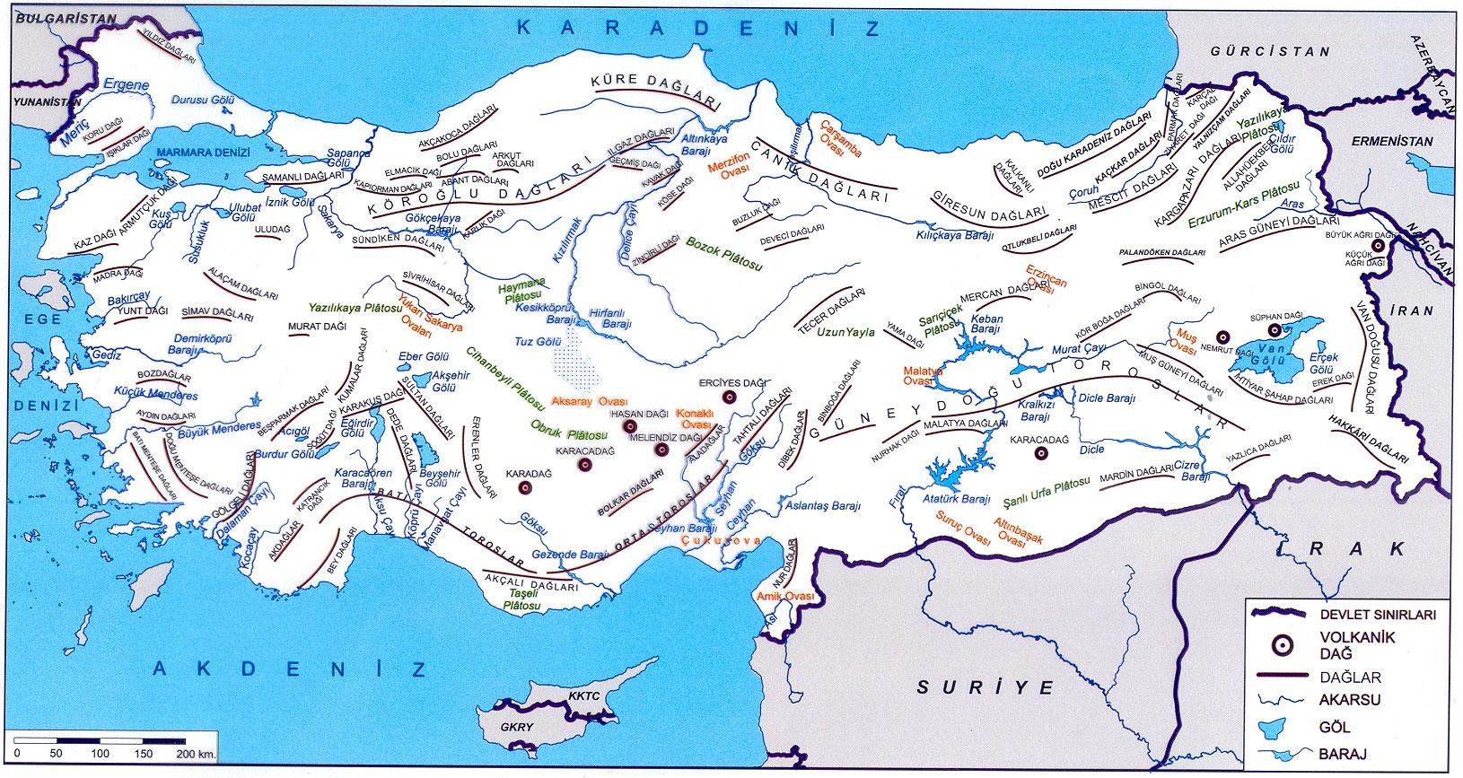 Türkiye dağlar akarsular göller ve barajlar haritası büyük boy