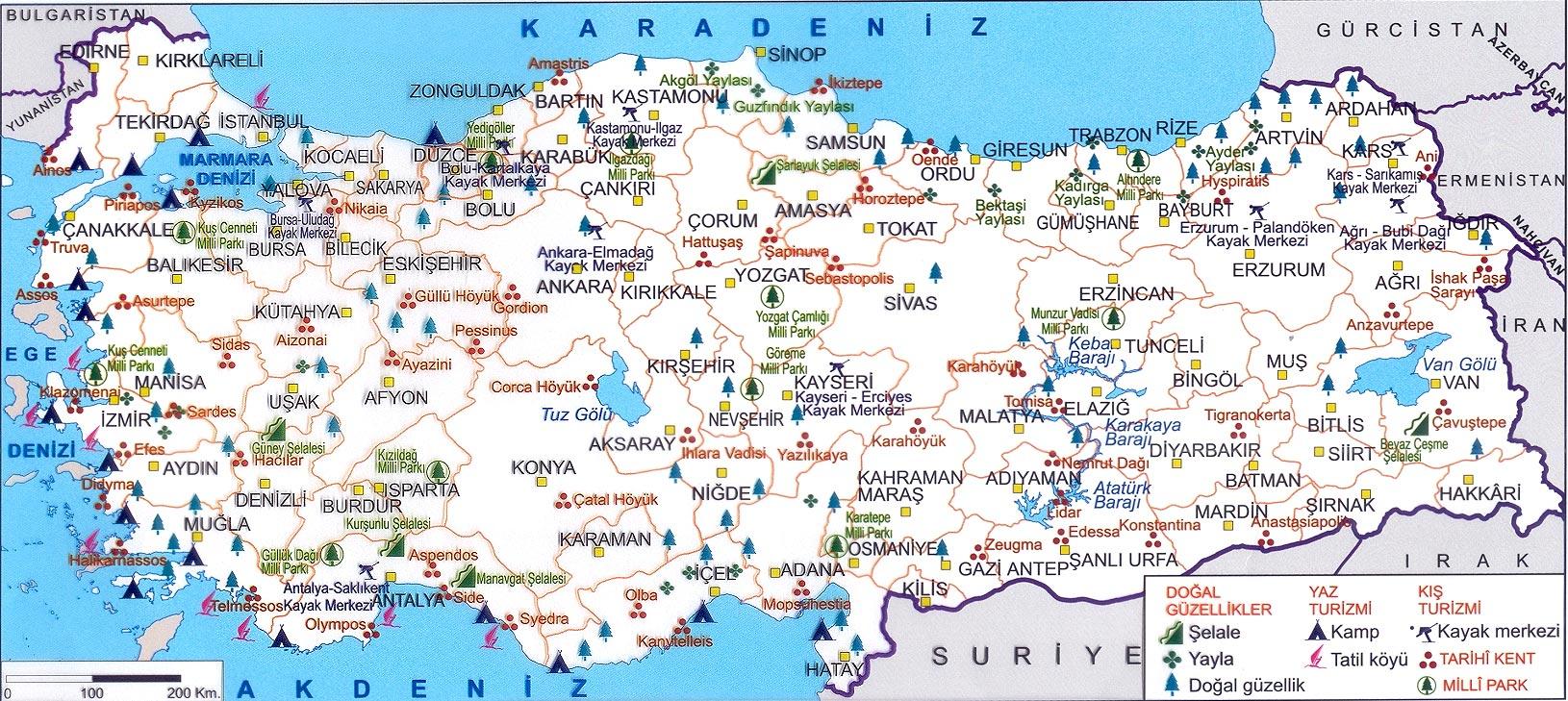 Türkiye'nin doğal güzellikleri ve milli parkları haritası büyük
