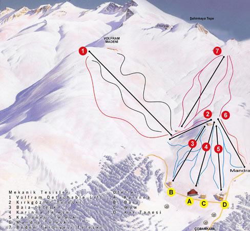 Uludağ Kayak Merkezi Pist Haritasi 2. Bölge